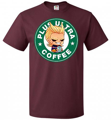 Plus Ultra Coffee Unisex T-Shirt Pop Culture Graphic Tee (6XL/Maroon) Humor Funny Ner