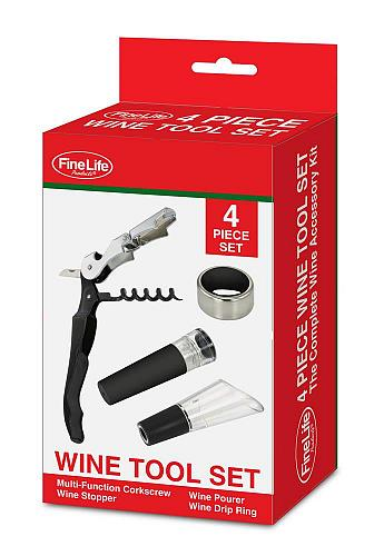 :10691U - 4 Pc Bottle Opener Wine Tool Set Corkscrew Stopper