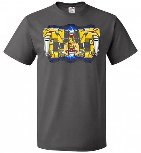 Yellow Ranger Unisex T-Shirt Pop Culture Graphic Tee (4XL/Charcoal Grey) Humor Funny
