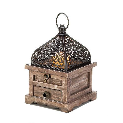 "*18059U - Small 8 1/4"" Flip-Top Wooden Candle Lantern"