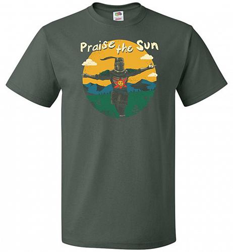 Praise The Sun Unisex T-Shirt Pop Culture Graphic Tee (4XL/Forest Green) Humor Funny