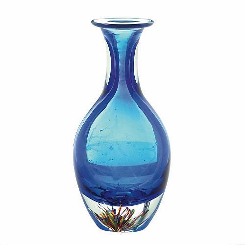 *18101U - Blue Art Glass Bottleneck Decorative Accent Vase