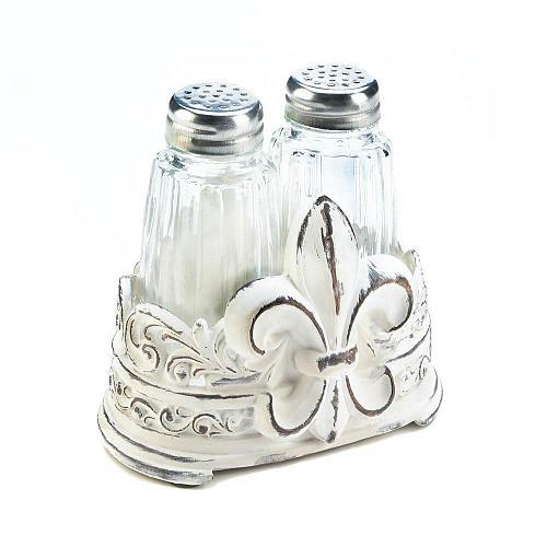 *18468U - Fleur-De-Lis Distressed White Salt & Pepper Shaker Set