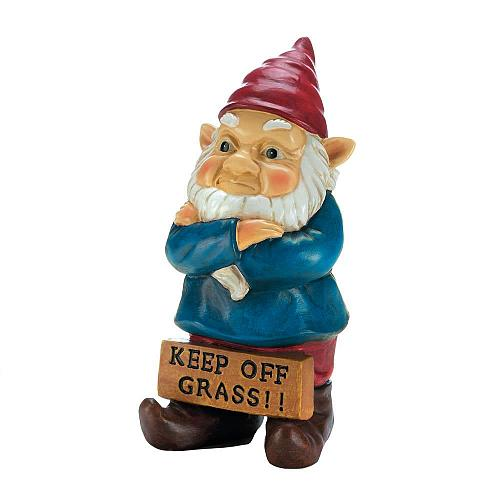 *18337U - Keep Off Grass Grumpy Gnome Figure Yard Art