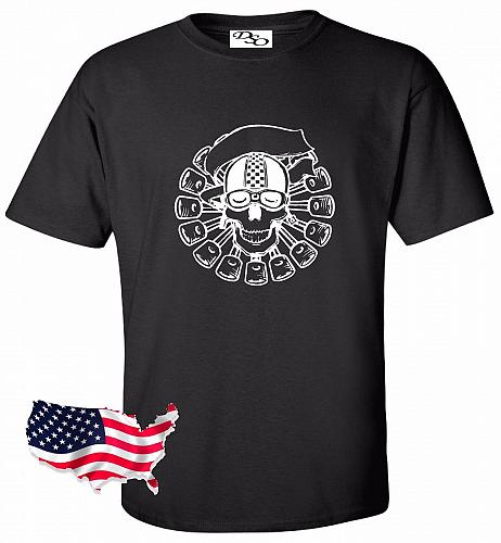 Biker Skull Motorcycle Tattoo T shirt #29