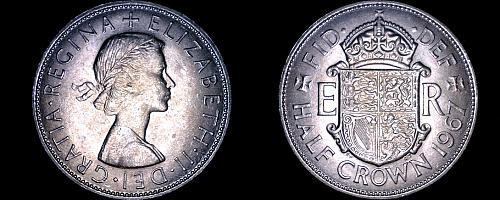 1967 Great Britain 1/2 Crown World Coin - UK - England - Elizabeth II