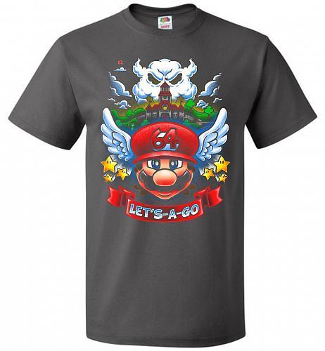 Retro Mario 64 Tribute Adult Unisex T-Shirt Pop Culture Graphic Tee (6XL/Charcoal Gre