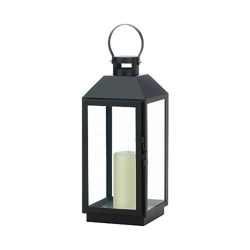 """*18510U - Large 19"""" Ebony Black Iron Pillar Candle Lantern Candleholder"""