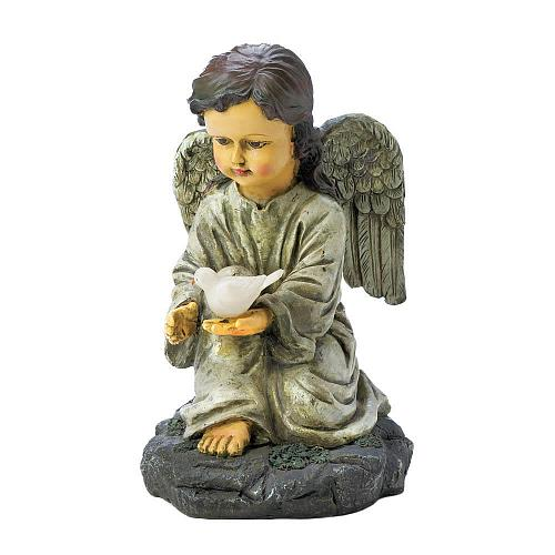 "*18300U - Angel w/Light Up Dove Garden Figurine 10 1/2"" Solar Light Up Statue"