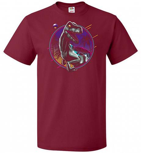 Rad Velociraptor Unisex T-Shirt Pop Culture Graphic Tee (4XL/Cardinal) Humor Funny Ne