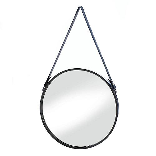 *18489U - Hanging Round Mirror Black w/Faux Leather Strap