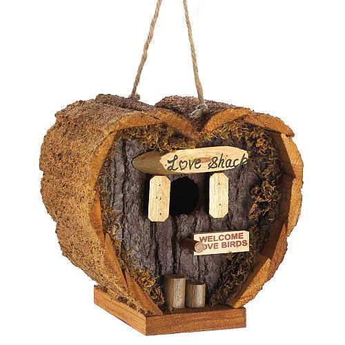 12605U - Love Shack Heart Decorative Wood Birdhouse