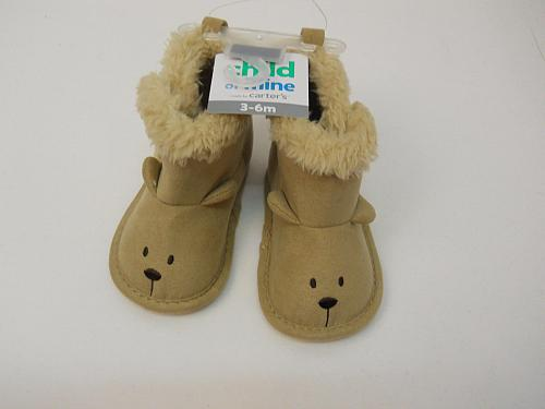 UNISEX Infants Slippers Brown Bears SIZE 3-6M CARTERS Slip Ons Baby House Shoes