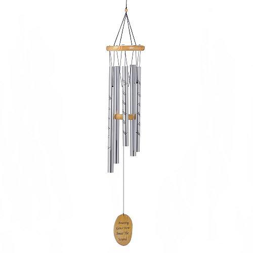 "*18228U - Silver 38.5"" Aluminum Wind Chimes Wood Amazing Grace Catcher"