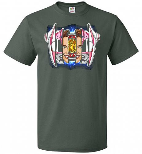 Pink Ranger Unisex T-Shirt Pop Culture Graphic Tee (6XL/Forest Green) Humor Funny Ner
