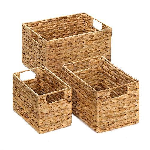 *15228U - Straw Rectangular Nesting Baskets Set of 3