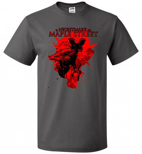 A Nightmare On Maple Street Unisex T-Shirt Pop Culture Graphic Tee (L/Charcoal Grey)