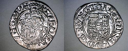 1551-KB Hungary 1 Denar World Silver Coin - Madonna with Child - Ferdinand I