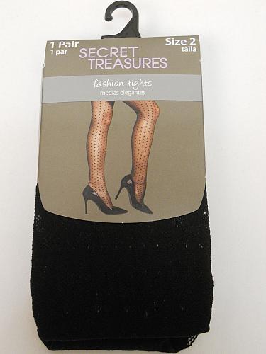 Women Tights PLUS SIZE 2 Solid Black SECRET TREASURES No Bind Waistband ST7CL