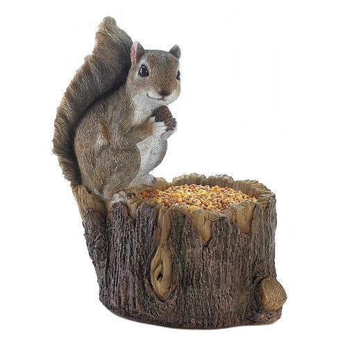 *18251U - Squirrel Tree Trunk Bird Feeder Garden Statue