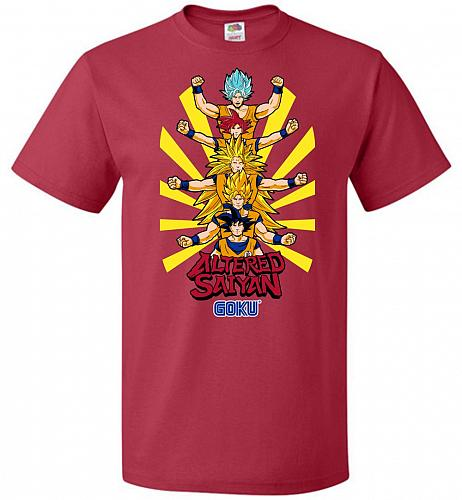 Altered Saiyan Unisex T-Shirt Pop Culture Graphic Tee (2XL/True Red) Humor Funny Nerd
