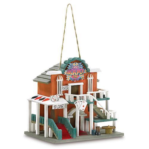 38277U - Jackpot City Decorative Wood/Polyresin Birdhouse