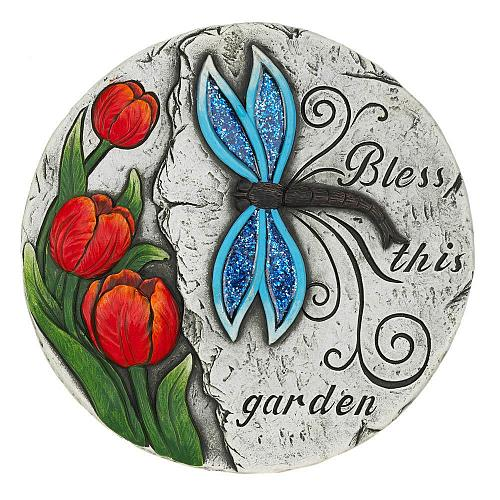 "*18536U - Bless This Garden Tulips Dragonfly 10"" Cement Garden Stepping Stone"