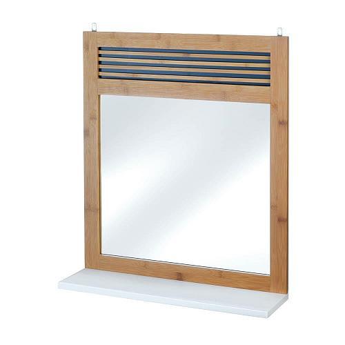 *18321U - Bamboo Wood Frame Wall Mirror w/White Shelf