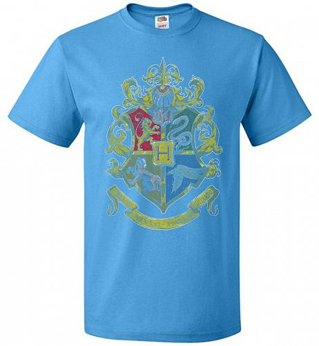 Hogwart's Crest Adult Unisex T-Shirt Pop Culture Graphic Tee (S/Pacific Blue) Humor F