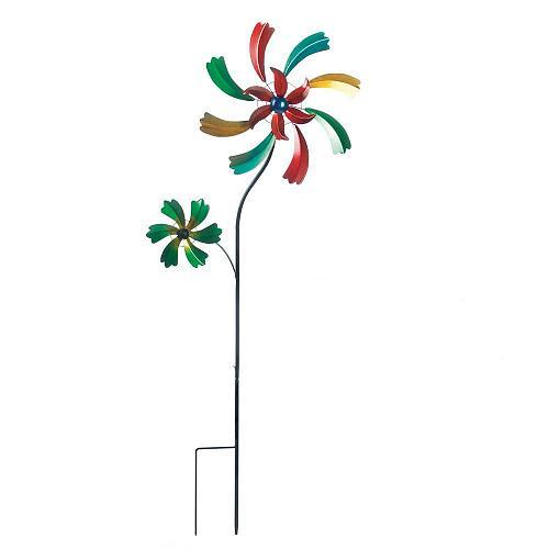 *18462U - Colorful Wildflower Iron Windmill Spinning Yard Art