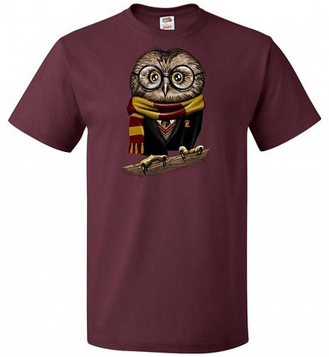Owly Potter Unisex T-Shirt Pop Culture Graphic Tee (3XL/Maroon) Humor Funny Nerdy Gee