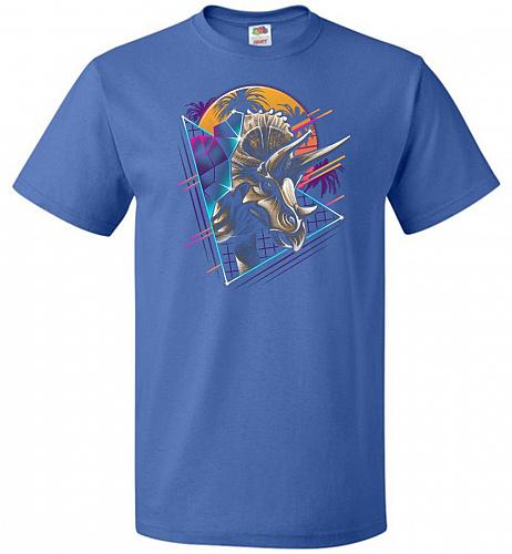 Rad Triceratops Unisex T-Shirt Pop Culture Graphic Tee (M/Royal) Humor Funny Nerdy Ge