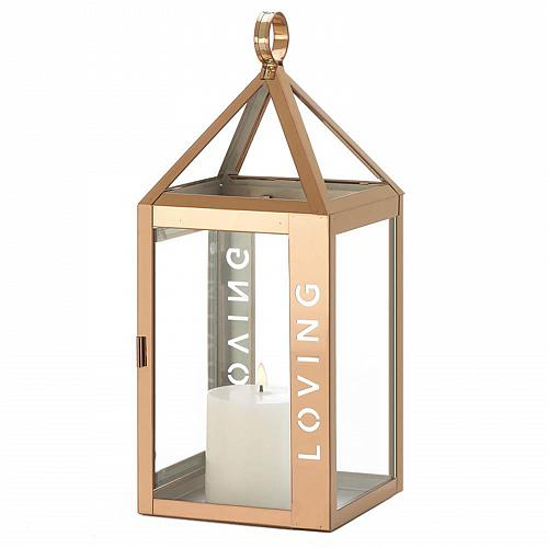 "*18529U - Rose Gold Metal Frame LOVING Stencil Cut 17.5"" Pillar Candle Lantern"
