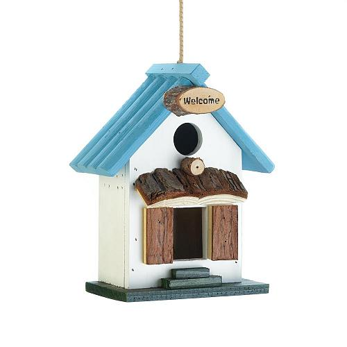 *18417U - Blue Rooftop Rustic Wood Birdhouse