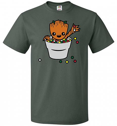A Pot Full Of Candies Unisex T-Shirt Pop Culture Graphic Tee (XL/Forest Green) Humor