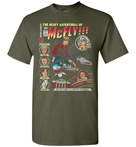 Heavy Adventures Of McFly! Unisex T-Shirt Pop Culture Graphic Tee (L/Military Green)