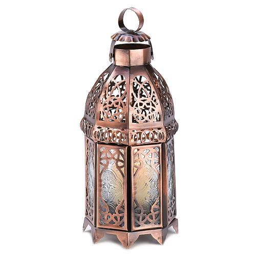 13366U - Copper Moroccan Style Iron Tea Light Candle Lantern Pressed Glass