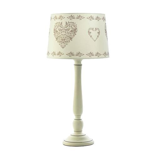*18335U - Vintage Hearts Fabric Shade Ceramic Stick Table Lamp