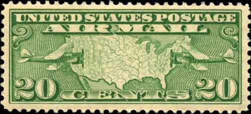 1927 20c Map of United States & Two Mail Planes Scott C9 Mint F/VF NH