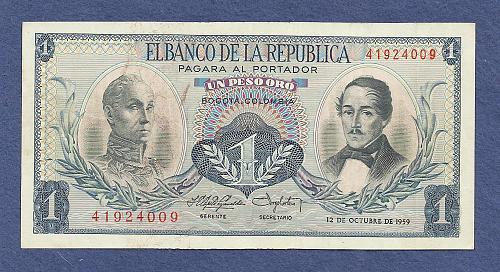 COLUMBIA 1 Peso Oro 1959 Banknote 41924009 -S Bolivar/Gen Santador - UNC Crisp Note!