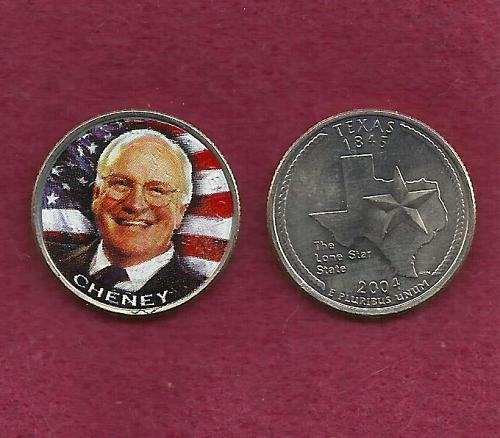 2004 - 25 Cent Texas State Quarter (Vice President Dick Cheney) Colorized - UNC
