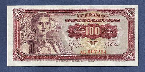 YUGOSLAVIA 100 Dinara 1963 Banknote AE007294 - Woman wearing National Costume
