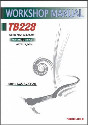 Takeuchi TB228 Compact Excavator Service Workshop Manual on a CD - TB 228