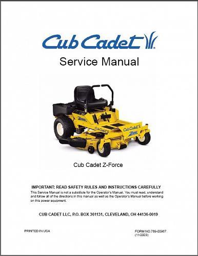 Cub Cadet Z Force Zero-Turn Riding Mower Service Manual on a CD