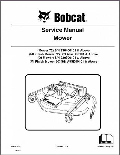Bobcat Mower / Finish Mower Service Manual on a CD