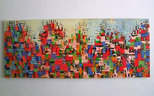 Cityscape Abstract Original Oil Painting Contemporary Art Impasto Palette Knife Red