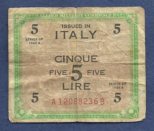 ITALY 5 Lire 1943 Banknote A12088236B WWII Allied Military Currency PM18b Serie 1943A