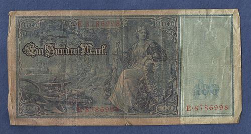 Germany 100 Mark 1910 Banknote E8786998 Wilhelm watermark-Mercury/Ceree/Germania