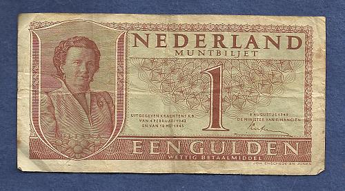 NETHERLANDS 1 Gulden 1949 Banknote 6SJ000271,Queen Julianna at left P72 - WWII Era