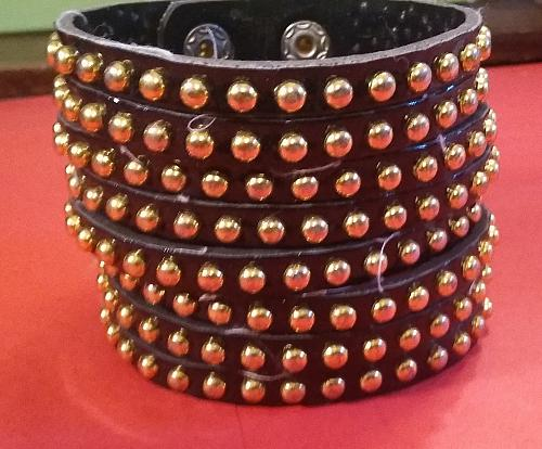 Snap Bracelet Gold Beaded Stud Black faux Adjustable Leather Wide - Light Weight